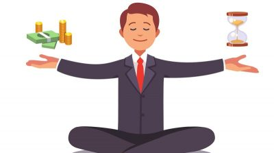 Illustration of a professional man balancing money and time.